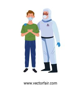 biosafety worker with patient characters