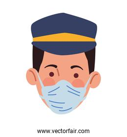 taxi driver using medical mask