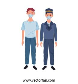 young man and taxi driver using medical mask