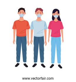 young people using medical masks characters