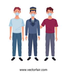 young men and taxi driver using medical masks