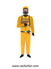 worker wearing biosafety suit yellow
