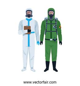 workers wearing biosafety suits characters