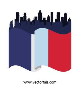 france flag country with cityscape