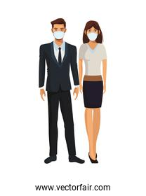 elegant business couple wearing medical masks