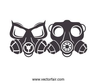 pair of biosafety gas masks icon