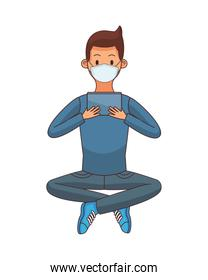young man using medical mask and tablet