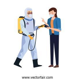 biosafety worker with sprayer portable and woman