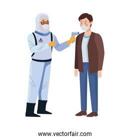 biosafety worker with thermometer laser and man