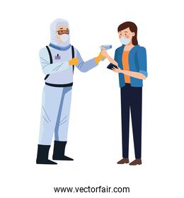 biosafety worker with thermometer laser and woman