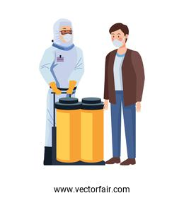 biosafety worker with tanks and man