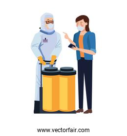 biosafety worker with tanks and woman