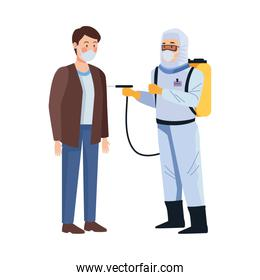 biosafety worker with sprayer portable and man