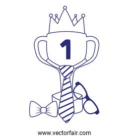 Trophy with necktie and crown of fathers day vector design