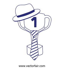 Trophy with necktie and hat of fathers day vector design