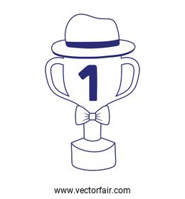 Trophy with hat and bowtie of fathers day vector design