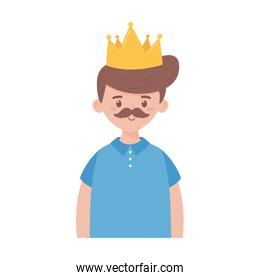 Father man with mustache and crown on fathers day vector design