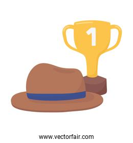 Trophy with hat of fathers day vector design