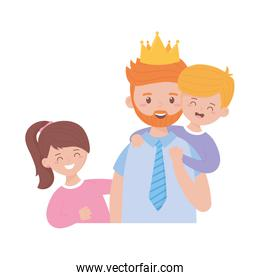 Father son and daughter with crown on fathers day vector design