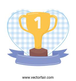 Trophy with ribbon vector design
