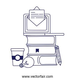 laptop with envelope and books vector design