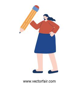 Woman with pencil tool vector design