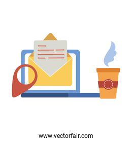 laptop with envelope and coffee mug vector design