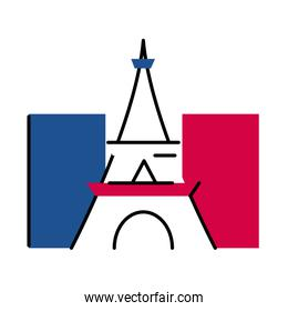 France eiffel tower line and fill style icon vector design
