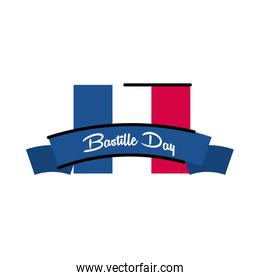 Bastille day flag with ribbon line and fill style icon