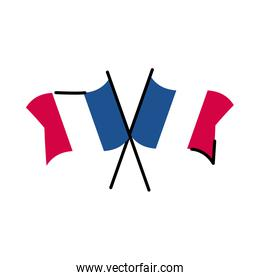 France flags line and fill style icon vector design
