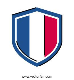 France shield line and fill style icon vector design