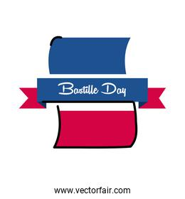 Bastille day flag with ribbon line and fill style icon vector design