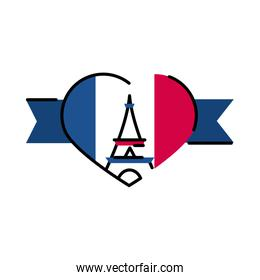 France eiffel tower inside heart line and fill style icon vector design