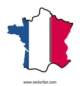 France map line and fill style icon vector design