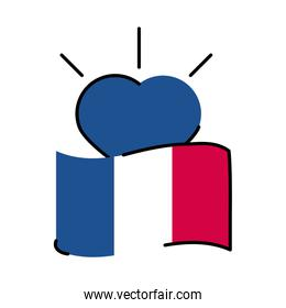 France flag and heart line and fill style icon vector design