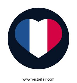 France heart block and flat style icon vector design