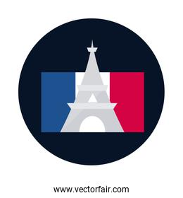 France eiffel tower block and flat style icon vector design