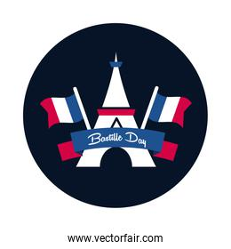 Bastille day eiffel tower with flags block and flat style icon vector design