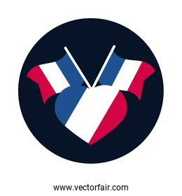 France flags and heart block and flat style icon vector design