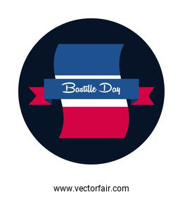 Bastille day flag with ribbon block and flat style icon vector design