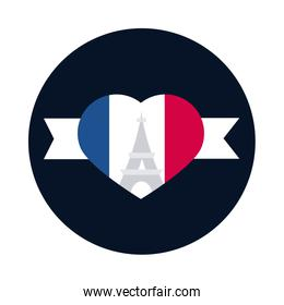 France eiffel tower inside heart block and flat style icon vector design
