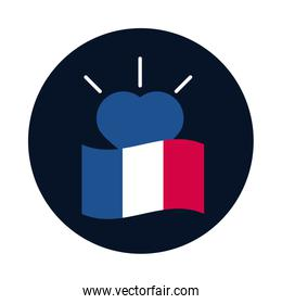 France flag and heart block and flat style icon vector design
