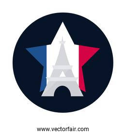France eiffel tower inside star block and flat style icon vector design