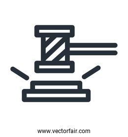 Isolated law hammer line style icon vector design