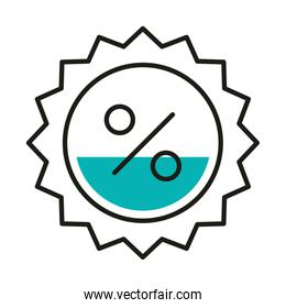sale percentage seal stamp line style icon vector design