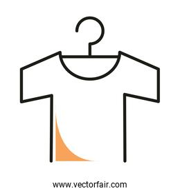 Tshirt with hanger line style icon vector design