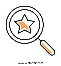 Isolated star inside lupe line style icon vector design