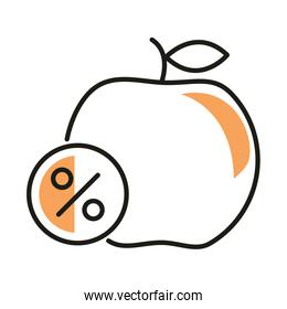 apple with sale percentage label line style icon vector design