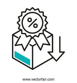 sale percentage seal stamp and box line style icon vector design