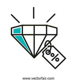 diamond with sale percentage label line style icon vector design